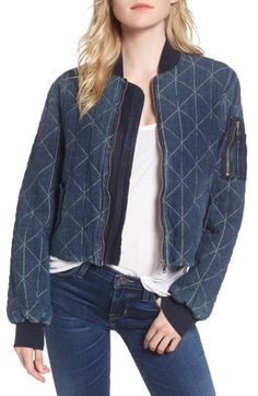 Hudson Quilted Denim Bomber Jacket In 2 Good Denim Bomber Jacket, Corduroy Jacket, Jacket Style, Jeans Style, Skinny Fit Jeans, Hudson Jeans, Jackets For Women, Casual, Clothes