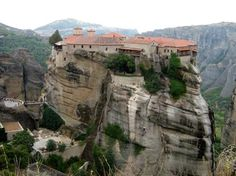 Meteora, Greece. The area of Meteora on the Greek mainland is a collection of six monasteries that were constructed on limestone rocks many centuries ago.