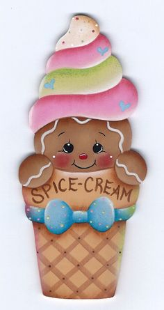 Spice Cream Cone Gingerbread Painting by GingerbreadCuties on Etsy