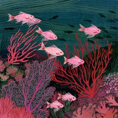 Coral reef-- Giclee print of an original painting ships in a robust packaging 8 X 10 prints send in a cardboard tube © becca stadtlander 2014 Art And Illustration, Art Inspo, Posca Art, Gouache Painting, Ocean Art, Fish Art, Art Design, Oeuvre D'art, Fine Art Paper
