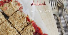 After using up all the rhubarb I brought home from North Dakota, I couldn& help but feel a little sad. So when I saw the fresh, bright. Rhubarb Oatmeal Bars, Rhubarb Bars, Oatmeal With Fruit, Rhubarb Desserts, Rhubarb Recipes, Baking Recipes, Cookie Recipes, Dessert Recipes, Fruit Crumble