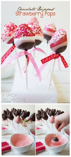 Fun and Easy Chocolate Dipped Strawberry Pops for Valentines Day! Fun and Easy Chocolate Dipped Strawberry Pops for Valentines Day! Valentine Desserts, Valentines Day Treats, Holiday Treats, Valentines Recipes, Valentines Baking, Valentine Cupcakes, Heart Cupcakes, Kids Valentines, Birthday Treats