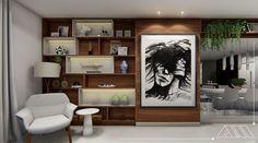 📎Projeto Autoral📎  Edifício August Rodin - Campo Grande-MS Encantada com cada cantinho desse apartamento!! Projetado para uma senhora muito querida e super moderna. Na imagem, nichos e painel em lâmina de madeira Nogueira e detalhes em Laca fendi.