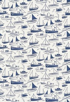 Sail Away (120232) - Harlequin Fabrics - A delightful simple boat motif fabric, which co-ordinates with the wallpaper but looks perfect on its own too. Shown in navy blue and neutral. Please request sample for true colour match.