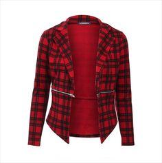 Womens Red Check Tartan Zipped Waterfall Blazer Coat Jacket Waistlength Size 10