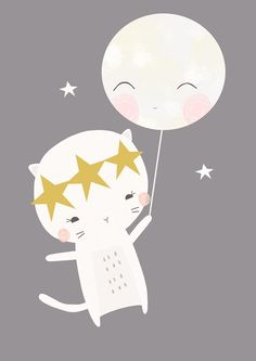 láminas infantiles - gato y luna