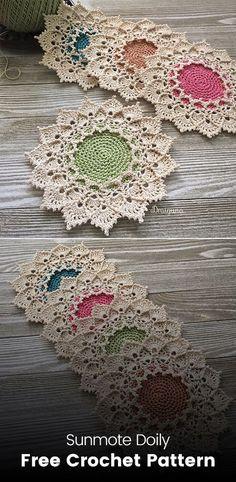 Sunmote Doily Free Crochet Pattern Source by Thread Crochet, Filet Crochet, Crochet Motif, Hand Crochet, Crochet Lace, Crochet Stitches, Crochet Patterns, Ravelry Crochet, Crochet Doily Diagram