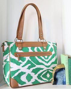 Kailo Chic Laptop Camera iPad Bag - Emerald Green Ikat and Tan Trim