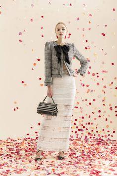 Alice & Olivia Resort runway 2014: Tweed jacket and lace skirt