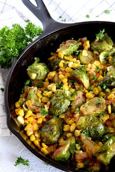 Spicy Pan-Seared Brussel Sprouts with Corn & Caramelized Onions