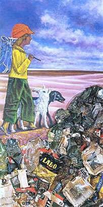 Juanito con dos perros, 1973, pintura acrílica y collage s/madera, 195 x 102 cm. Col. privada
