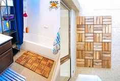 IKEA decking tiles as bathmat