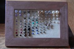 earring stand from picture frame & felt; a tutorial- perfect way to organize the stud earrings that always get lost somehow