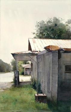 "Dean Mitchell, ""Small Town Gas Station"" 30"" x 18"""