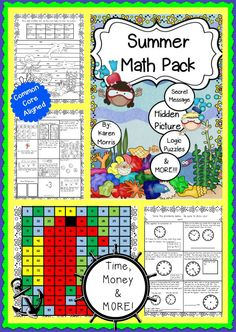 A summer math pack jammed with tons of math activities!  Hidden Pictures, Hidden Messages and MORE!!!