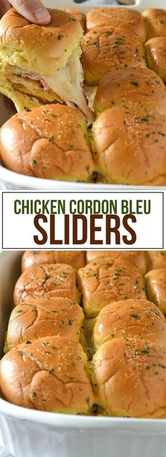 These delicious Chicken Cordon Bleu Sliders are loaded with everything you love about chicken cordon bleu including a creamy sauce and melted Swiss cheese. Appetizer Recipes, Dinner Recipes, Appetizers, Sandwich Recipes, Dinner Ideas, Slider Sandwiches, Pinwheel Sandwiches, Mini Sliders, Chicken Sliders