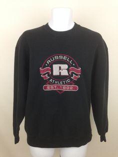 Vintage Russell Athletics Sweatshirt Size L, Unisex Black Sweatshirt, Retro Cozy Oversized Sweatshirt, Crew Neck Pullover Jumper by UniqueTreasuresPA on Etsy