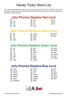 This handy Tricky Word list gives you a helpful breakdown of the Tricky Words in the first four levels of the Jolly Phonics decodable readers. Jolly Phonics Activities, Learning Phonics, Phonics Lessons, Phonics Reading, Phonics Worksheets, Reading Comprehension, Kids Learning, Learning Resources, Jolly Phonics Tricky Words
