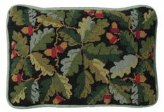 Tapestry cushion/pillow kit - designed for lumbar support - Black Acorns by One Off Needlework - stunning design - buy online now with fast delivery ! Needlepoint Designs, Needlepoint Kits, Cushion Pads, Cushion Pillow, Cushion Embroidery, Tapestry Kits, Black Cushions, Soft Towels, Running Stitch