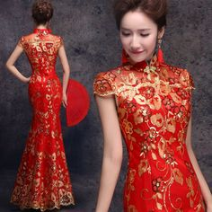 Golden thread red beaded mandarin collar dress Chinese bridal wedding mermaid cheongsam 001