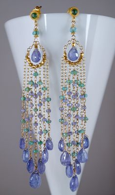 10% Off - Delicate Emerald and Tanzanite Gold Earrings. $2,250.00, via Etsy.