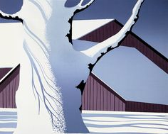 Red Barn and Tree Trunk - Eyvind Earle - Magic Realism style, 1974 Eyvind Earle, New York City, Illustrator, American Barn, Magic Realism, Winter Painting, Art Database, Illustration Artists, American Artists