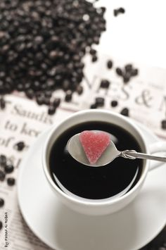Black #coffee and heart shape sugar.