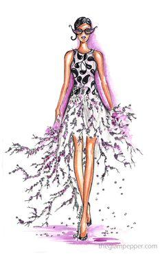 Fashion illusttration, draw a dot, Giambattista Valli Spring/Summer 2015, fashion illustrator, sketch, doodle, bozzetto, moda estate 2015