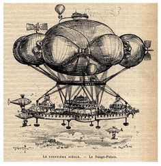 Flying casino, concept by Albert Robida. Ville Steampunk, Steampunk Ship, Steampunk City, Steampunk Images, Jules Verne, Ballon Drawing, Albert Robida, Vape Logo, Treasure Planet