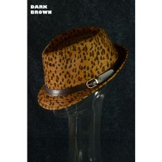 Fedora Hat Trend Fashion Fall Winter Hipster Leopard Print with Buckle Hat Dark Brown $15 Only  www.monrevecollection.com