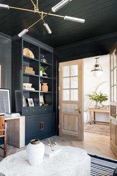 How we designed Syd's dark tonal moody office Home Office Space, Home Office Design, Home Office Decor, House Design, Home Decor, Office Ideas, Office Designs, Interior Office, Office Chic