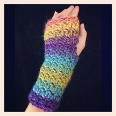 Wristwarmers are a fun and easy project for crochet too! Try these prismatic mitts made with Lion Brand Landscapes!  Get the pattern by Jennifer Christensen.  *Please note, this is not a Lion Brand pattern*