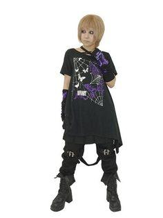 Asymmetry T-Shirt Butterfly Black x Purple. #punkfashion #Gothic #Deorart See more at: http://www.cdjapan.co.jp/apparel/deorart.html