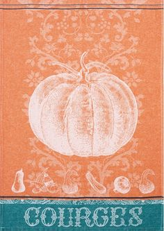 """Courges Squashes Kitchen Towel in Jacquard Pattern 20/"""" x 30/"""" 100/% Cotton"""
