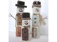 Snowman wood blocks
