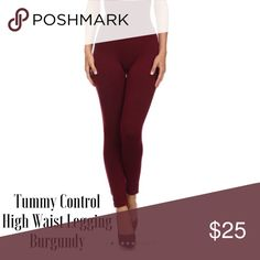 Tummy Control High Waist Legging BURGUNDY Fleece lined high waist leggings with top compression panel that flattens your tummy and contours your waist line. ✅Super Thick/Fleece Lined ✅Compression Top, Flatters Waist  ✅OSFM (One Size Fits Most) Fits 2-14 or S-L. This posting is for the Burgundy Color. Olive Green, Charcoal Gray and Black also available. Stay warm and in good looking shape this Winter ❄️❄️. Pants Leggings