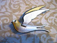 Vintage Sterling Guilloche Enamel Bird in Flight Norway Pin Brooch by charmingellie on Etsy