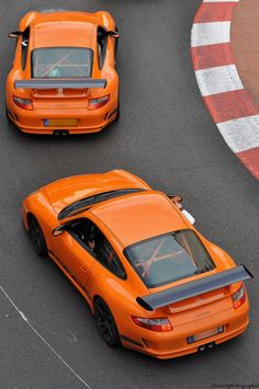 Porsche GT3 RS [And they're Orange! I'm orange with envy.]
