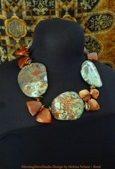 Primal Art to Wear Brilliant teal and earthy by MorningDoveDesign, $148.00