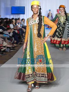 Multicoloured Chiffon Heavily Embellished Flared Dress by Waseem Noor