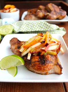 Grilled Pork Chops with Stone Fruit Slaw #Zenbelly