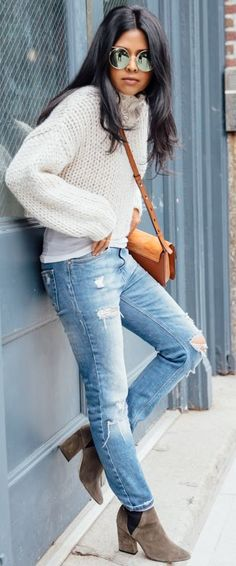 Chunky Knit Sweater Casual Fall Street Style Inspo by Walk In Wanderland