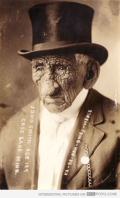 "129 year old Native American ""Wrinkle Meat"" - Old photo of Chief John Smith (Ka-be-nah-gwey-wence) at the age of 129."