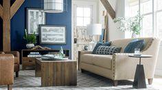 Wyatt Sofa by Bassett - Beautiful Fabrics - Gorgeous Finishes - Quality Furniture at Bassett Furniture Torrance California Navy Living Rooms, Blue Rooms, Formal Living Rooms, Rugs In Living Room, Living Room Designs, Couch Furniture, Living Room Furniture, Furniture Ideas, Blue Room Decor