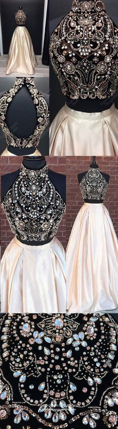 Beading Two Pieces Sparkly Open Back Halt Prom Dresses, Popular Fashion Prom Dress for p. 2019 Beading Two Pieces Sparkly Open Back Halt Prom Dresses, Popular Fashion Prom Dress for party, Beading Two Pieces . Prom Dresses Long Pink, Prom Dresses For Teens, Prom Dresses 2018, Ball Gowns Prom, Grad Dresses, Cheap Prom Dresses, Dance Dresses, Pretty Dresses, Formal Dresses