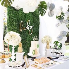 "Kara's Party Ideas (@karaspartyideas) on Instagram: ""Crying for tropical trees, adorable desserts and lush blooms?! This Modern Hawaiian Baby Shower on…"""