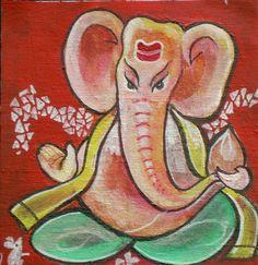 Ganesh (Ganesha) - 5 x 4.5 inches on Canvas