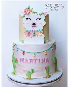 "Naty Benitez "" Sweet Cakes "" on Instagram: ""Diseño exclusivo para esta tierna tematica💕 🌵"" Llama y Cactus ""🌵"" Llama Birthday, Birthday Cake Girls, Fiesta Cake, Cactus Cake, Summer Cakes, Cute Cookies, Girl Cakes, Fancy Cakes, Sweet Cakes"