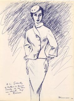 Givenchy 1954 Pierre Mourgue Fashion Illustration