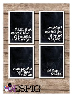 Inspirational The Beatles Typography 4 Piece Print Poster Set of Lyrics. $40.00, via Etsy.